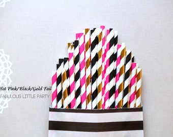 Black and Gold Foil Party Straw Mix Black and White Party