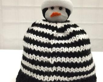 Knit Striped Penguin hat for Kids