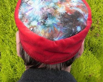Cosmic Galaxy Space Hand Painted Velvet Smoking Cap