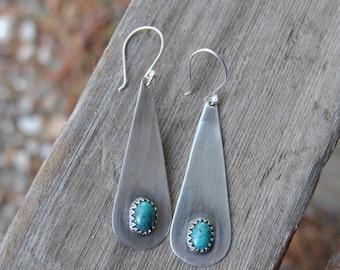 Turquoise Earrings, Silver Turquoise Earrings, Rustic Earrings, Southwestern Earrings
