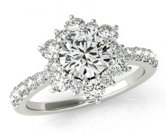 GIA Certified 0.50 carat Diamond Flower Engagement Ring - Diamond Engagement Rings for Women - Diamond Flower Lotus Halo Rings - 1 Carat TW