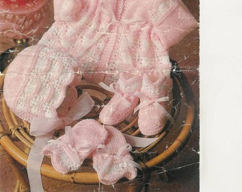 Marriner 1931 Vintage Knit Pattern for baby set jacket bonnet mitts bootees instant download knitting pattern