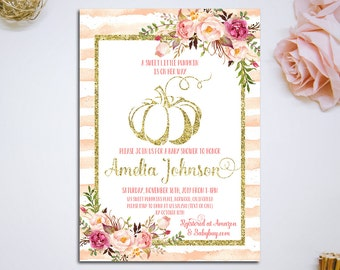 Pumpkin Baby Shower Invitation, Pink floral and Gold Baby Shower Invitation, Fall Baby Shower Invitation, Little Pumpkin, Girl Baby Shower