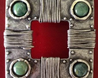 Fibbia per cintura//belt buckle//silver belt buckle with green stone//italian belt buckle