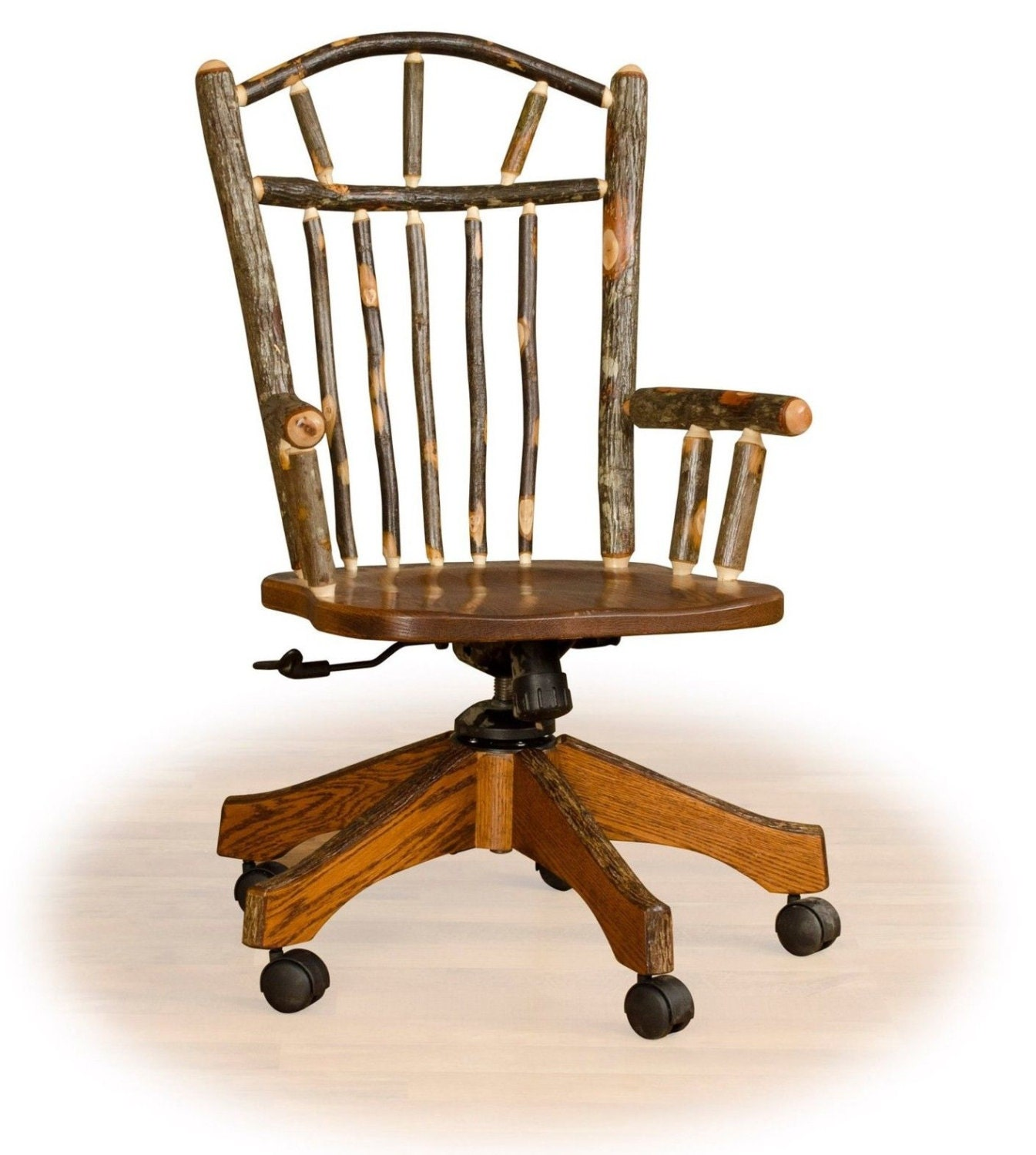 Rustic Hickory On Oak Office Chair On Rollers Desk Chair