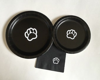 Paws Party Pack - Pawprint Plates - Paw Print Party - Dog Birthday - Paw Baby Shower - Graduation Plates - Pet Lover - Paws Napkins - Plates