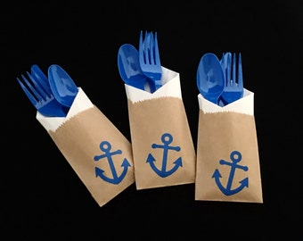 Cutlery Bags - Anchor - Nautical Baby Shower - Nautical Wedding - Beach Wedding - Engagement Party - treat bag - party favors - Anchor Party