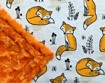 Minky Fox Baby Blanket - Orange