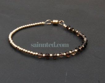 14K Gold Bracelet - Smoky Quartz - Gold Bracelet - brown