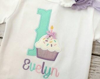 Girls birthday shirt - cupcake birthday shirt - personalized birthday shirt - first birthday - embroidered birthday shirt