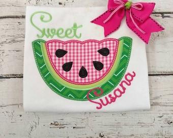 Girls watermelon shirt - pink watermelon - girls embroidered shirt - monogrammed girls shirt
