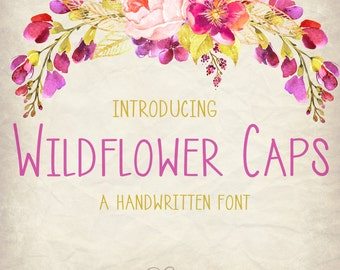 Digital Font Download- Handwritten Font for Commercial Use- Wildflower Caps- True Type Font ttf, Open Type Font otf- Instant Download