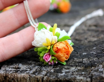 Wedding jewelry, tender floral jewelry for bridal made from cold porcelain, color flowers pendant with chain, anniversary gift for her