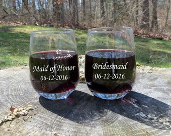 Personalized Stemless Wine Glasses, Bridesmaids, Wedding Reception, Anniversary Gift, House Warming