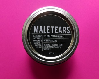 Male Tears Cotton Scented Soy Candle by Etta Arlene