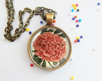 Peony pendant - vintage - flower necklace - art - choose necklace or keychain