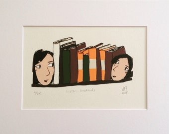 Sister bookends - limited edition, mounted screen print
