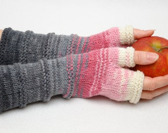 Knit Fingerless gloves fingerless Mittens Arm Warmer Girlfriend Gift for Her Winter gloves Valentines gift Womens gift ideas rose grey