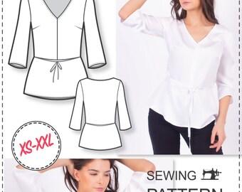 Peplum Top Pattern - V-neck Sewing Pattern - Sewing Patterns - Blouse Patterns - Sewing Tutorial - Women Sewing Pattern - Easy Patterns