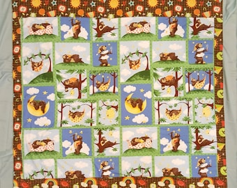 Baby Blanket - Baby Comforter - Baby Quilts - Toddler Blanket - Toddler Comforter - Toddler Quilts Bear Friends and ABC  *R17*