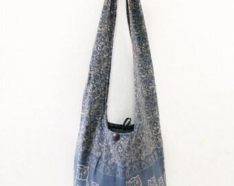 Owl Print Sling Shoulder Bag CrossBody Bag Messenger Bag Cotton Bag Hippie Boho Style Handmade Grey