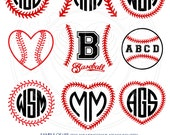 Baseball, Softball Monogram Frames - Digital Vector cut files - SVG, eps, DXF, PNG - decal, transfers, silhouette cutting machines cv-103