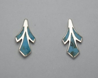 Small turquoise earrings vintage and sterling silver