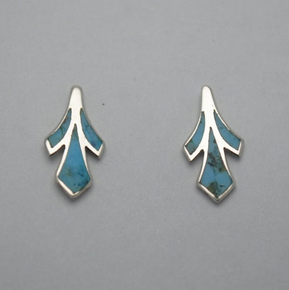 Petites boucles d'oreilles en argent et turquoise