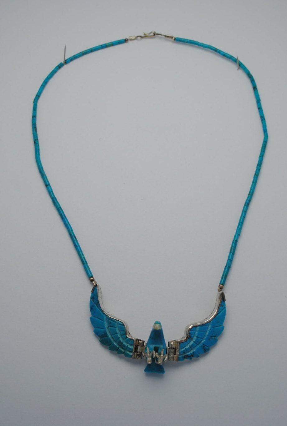 Bijoux American Vintage : Turquoise eagle necklace vintage