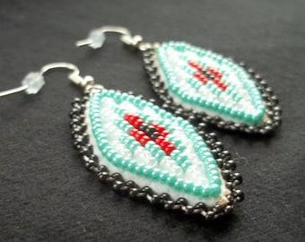 Beaded diamond drop earrings