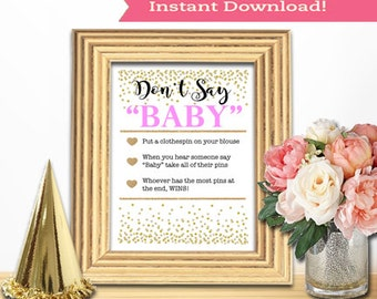 Baby Shower Game Download - DON'T SAY BABY - Pink and Gold - Instant Printable Digital Download - Baby Girl - diy Princess Glitter Dots