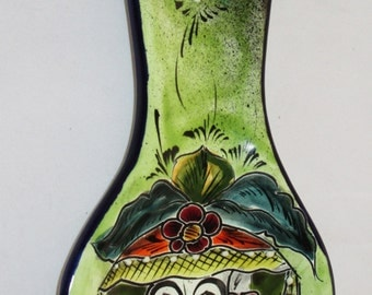 Talavera Spoon Rest, Day of the Dead Catrina, Mayolica -Mexican Pottery, Spoon Rest