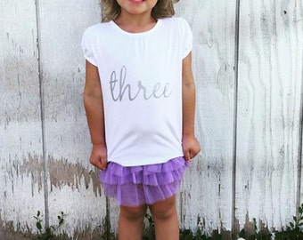 """Girl's T-Shirt with """"three"""" for 3rd Birthday"""