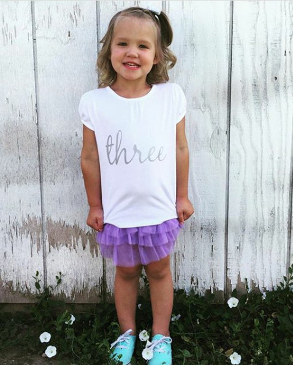 "Girl's T-Shirt with ""three"" for 3rd Birthday"