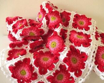Crochet Blanket Granny Squares Summer Flowers