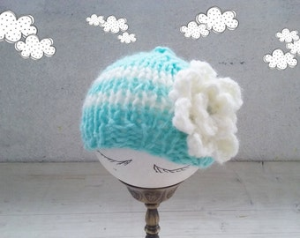 Aqua Baby hat, Baby knit Hats, baby Girl hats with flower, Newborn Hat for Girls, baby Shower Gift