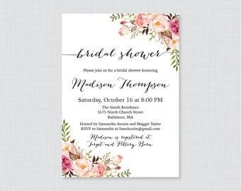 Floral Bridal Shower Invitation Printable or Printed - Rustic Pink Bridal Shower Invites - Shabby Chic Flowers Garden Shower Invitation 0024