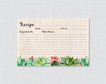 Succulent Bridal Shower Recipe Cards - Printable Rustic Bridal Shower Recipe Card and Invitation Insert - Trendy Green Bridal 0025