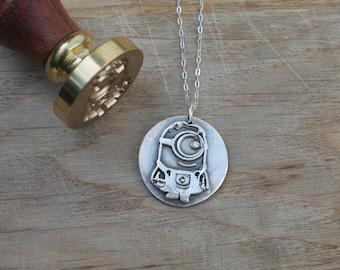 Minion wax seal fine silver pendant