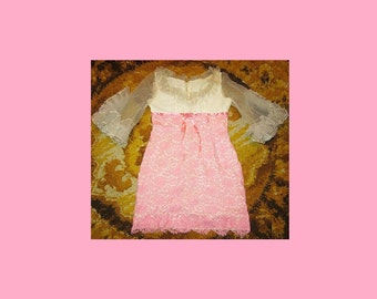 "Vintage 60s 60's sixties mod dollybird lace pink & white frilly dress UK 14 38"" Bust"
