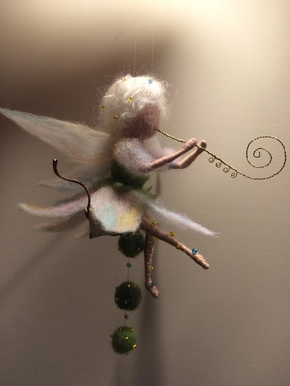 Needle Felted Fairy Waldorf Inspired Wool Music Fairy With