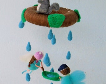 Fairy couple collecting rain drops after rain, needle felted baby mobile, possible other colors