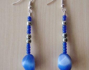 Dark Blue earrings with dark blue cat's eye bead