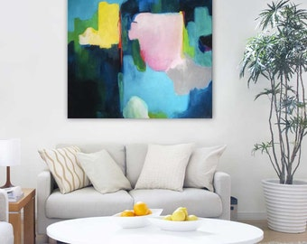 """ORIGINAL PAINTING, Large abstract art, modern art painting, pink, blue, yellow, green, contemporary expressionist painting, """"Pink Champagne"""""""