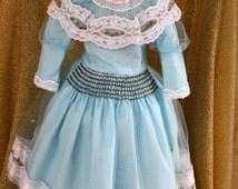 Vintage antique style doll dress , Sky blue Net and lace over Cotton  with sweet silk rose applique New old stock SO PRETTY ~ Fine Detail