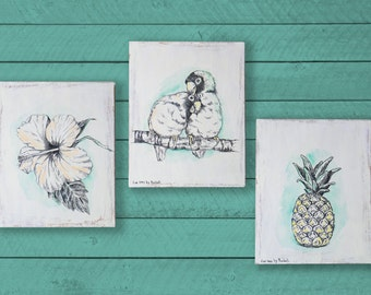 Tropical Wall Decor, Wood Wall Art, Set of 3 Pictures, Tropical Print, Bedroom Wood Signs, Love Birds, Pineapple, Hibiscus, Summer Decor