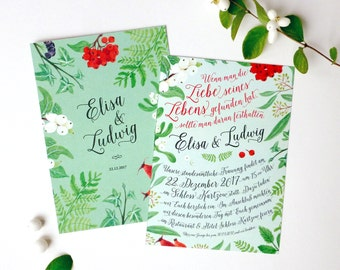 Wedding Invitation Card - Flowers & Individual Lettering / Winter berries
