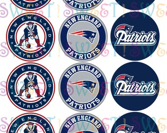 Edible New England Patriots Cupcake, Cookie, Oreo or Drink Toppers - Wafer Paper or Frosting Sheet.