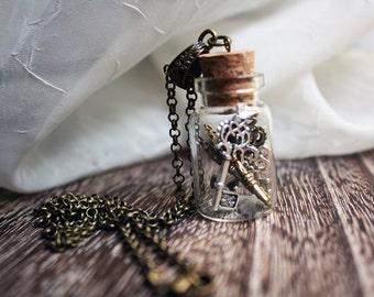 Steampunk antique Keys in a Bottle Necklace -  gold bronze silver key necklace