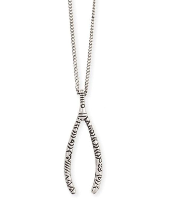 Lucky Wishbone Necklace  Antiqued silver tone  Wish Granted!